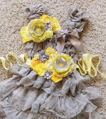 yellow grey lace dress sash and headband set grey yellow dress