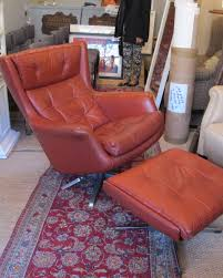Red Leather Swivel Chair by Danish 1960s Red Leather Swivel Recliner Armchair And Footstool