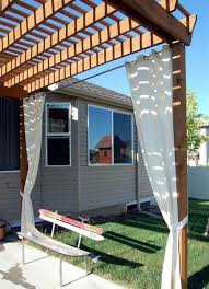 wooden pergola curtains white sun shade bench ski turf house gray