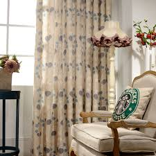 Pattern Drapes Curtains Beige Cotton Linen Curtains Balcony Decorations Drapes Printed