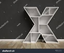 Letter Shelf Letter X Shaped Shelves 3d Rendering Stock Illustration 448238452