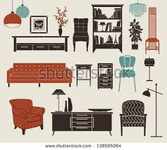 design elements in a home furniture home accessories set design elements stock vector
