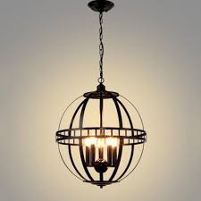 Orb Chandelier Industrial Orb Chandelier 5 Light 20 Inch Wide With Metal Cage In