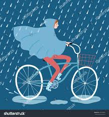 raincoat for bike riders raincoat riding on bicycle under stock vector 429185830