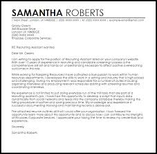 recruiting assistant cover letter sample livecareer