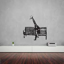 banksy giraffe on bench vinyl wall art decal wall art decal banksy giraffe on bench vinyl wall art decal