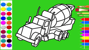 how to draw cement mixer truck coloring pages kids learn drawing