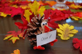 pine cone turkey place card holders family crafts