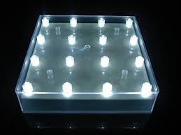square led light base with 16 bright white led lights wedding