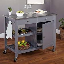 kitchen island cart stainless steel top modern mobile kitchen island rolling gray wood cart stainless