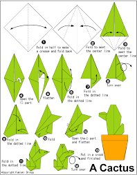 cara membuat bunga iris dari kertas origami cactus easy origami instructions for kids