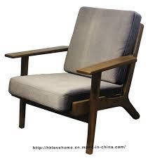 china modern leisure hans wegner plank wooden one seater sofa