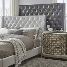 aurora faux leather crystal tufted nailhead wingback headboard by