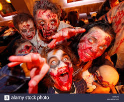 London Uk 27th October 2012 People Dressed Up As Zombies Stock