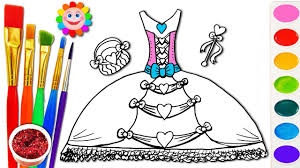 barbie fashion dress coloring page learn colors for girls and