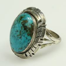 turquoise stone sterling silver 7 4g l spencer ring with turquoise stone
