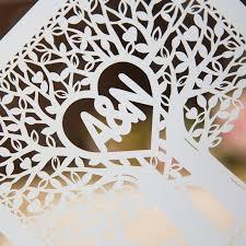 Monogram Wedding Invitations Elegant Love Heart Tree Laser Cut Wedding Invitation Cards Swws002