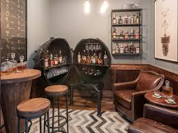 living room bar table whiskey room whisky bar table relaxed neutral stools industrial wood