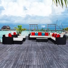 Aluminum Frame Wicker Patio Furniture - outsunny 13pc aluminum patio rattan set wicker sofa seat outdoor