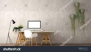 interior design working area destop computer stock illustration