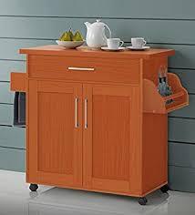 Cherry Kitchen Island Cart Amazon Com Hodedah Kitchen Island With Spice Rack Towel Rack