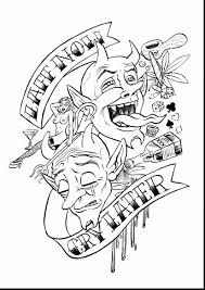 awesome laugh now cry later tattoo design with coloring pages