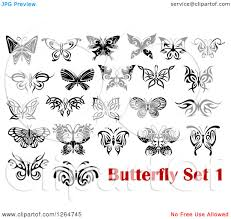 clipart of black and white tribal butterfly designs royalty free