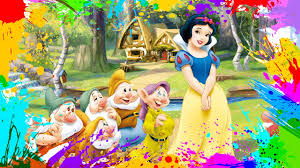 painting snow white dwarfs coloring book pages