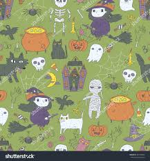 Halloween Skeleton Pattern by Happy Halloween Seamless Pattern Cute Characters Stock Vector