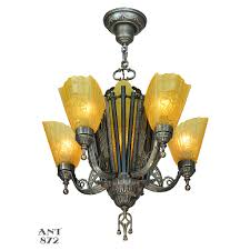 1930s Chandelier by Antique Deco Chandelier 1930s 5 Arm 6 Light Hanging Ceiling