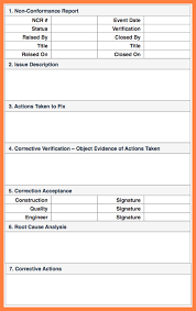 ncr report template quality non conformance report template 1 professional and