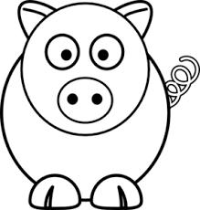 cartoon pig black white clip art clker vector clip