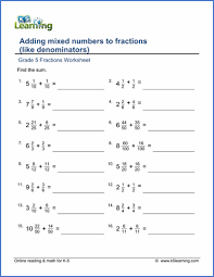 grade 5 addition u0026 subtraction of fractions worksheets free
