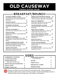 menu for brunch sunday brunch the causway