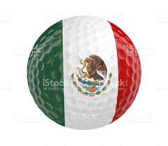 Mexixan Flag Golf Ball Render With Mexico Flag Isolated On White Stock Photo