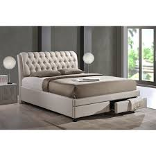 Beige Upholstered Bed Baxton Studio Armeena Upholstered Storage Platform Bed Light
