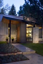 Contemporary Home Exterior by Contemporary Ranch House Remodel Front Entrance Ideas With Walkway