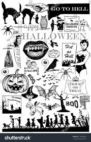 halloween background with silhouettes of children trick or treating in halloween costume set hand drawn halloween icons vector stock vector 192485834