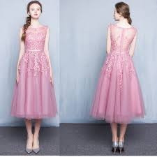 affordable simple pink knee length short summer bridesmaid dresses