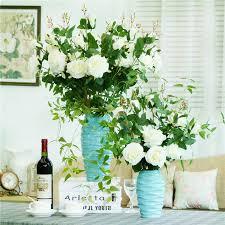 Hotel Flower Decoration 30cm Blue Water Wave Vase Handmade Ceramic Flower Plant Bottle Pot
