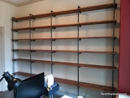 Industrial Pipe Bookcase Intriguing Wood Plank Shelving For Industrial Pipe Along With Wood