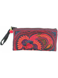 pencil bag bird embroidered wristlet clutch cosmetic pencil small