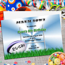 10 personalised rugby birthday party invitations n72