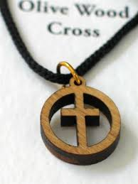wood pendant necklace images Olive wood cross in circle pendant necklace holy land bazaar jpg