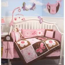 Pink Brown Crib Bedding 10 Soft Pink Brown Floral Crib Nursery Baby