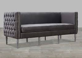 grey velvet sofa with nailheads