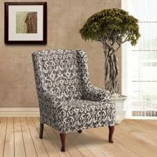 slipcover wing chair buy stretch wing chair slipcover from bed bath beyond