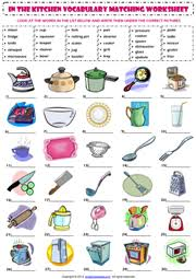 kitchen vocabulary esl printable worksheets and exercises