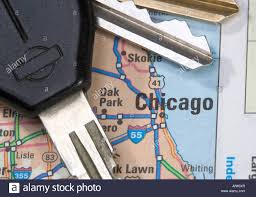 Map Of Chicago Illinois by A Close Up Of A Map Of Chicago Illinois With Car Keys Stock Photo