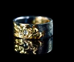mens engagement rings wide mens diamond ring rustic mens wedding band black and gold ring